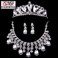 freeshipping big crystal tassel bridal jewelry sets large tiara necklace earrings three piece sets wedding accessories