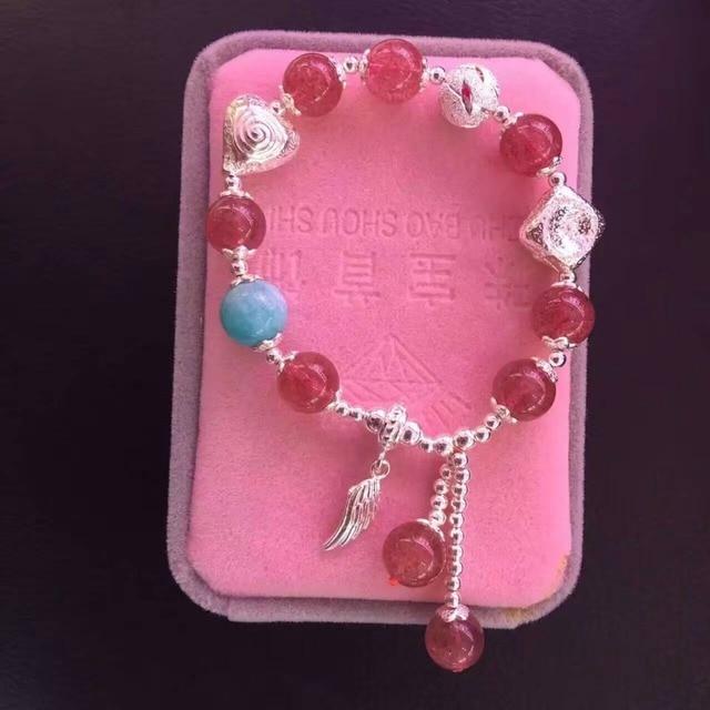 Women Luxury Handmade Silver Plated Bracelets Strawberry Quartz Amazon Stone Beads Bracelet Fashion Bangles Fashion Hand Jewelry