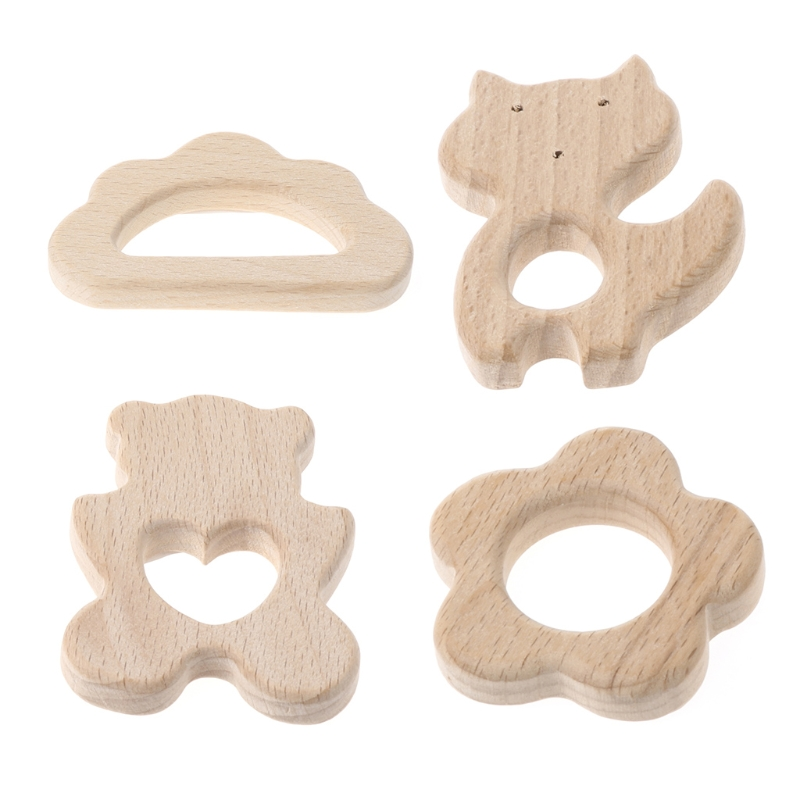 Baby Wooden Teething Relief Toy Nature Organic Cloud Baby Nursing Holder Teether