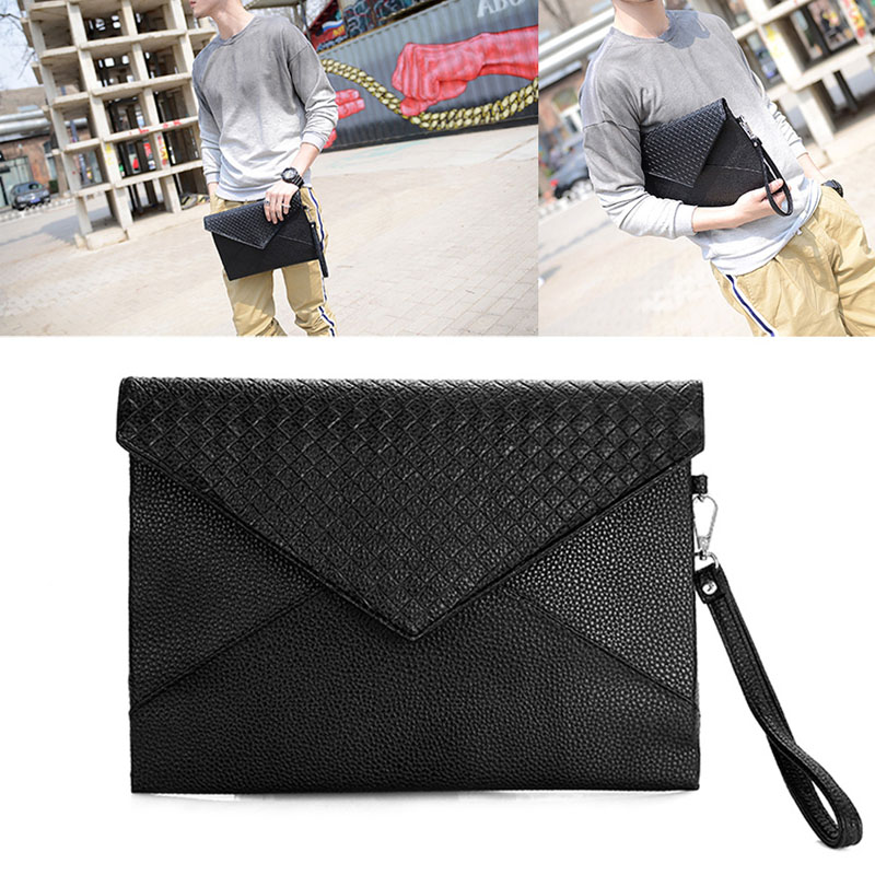Men Women Handbags Envelope Clutch Briefcase Boy Business Leather Document Bag