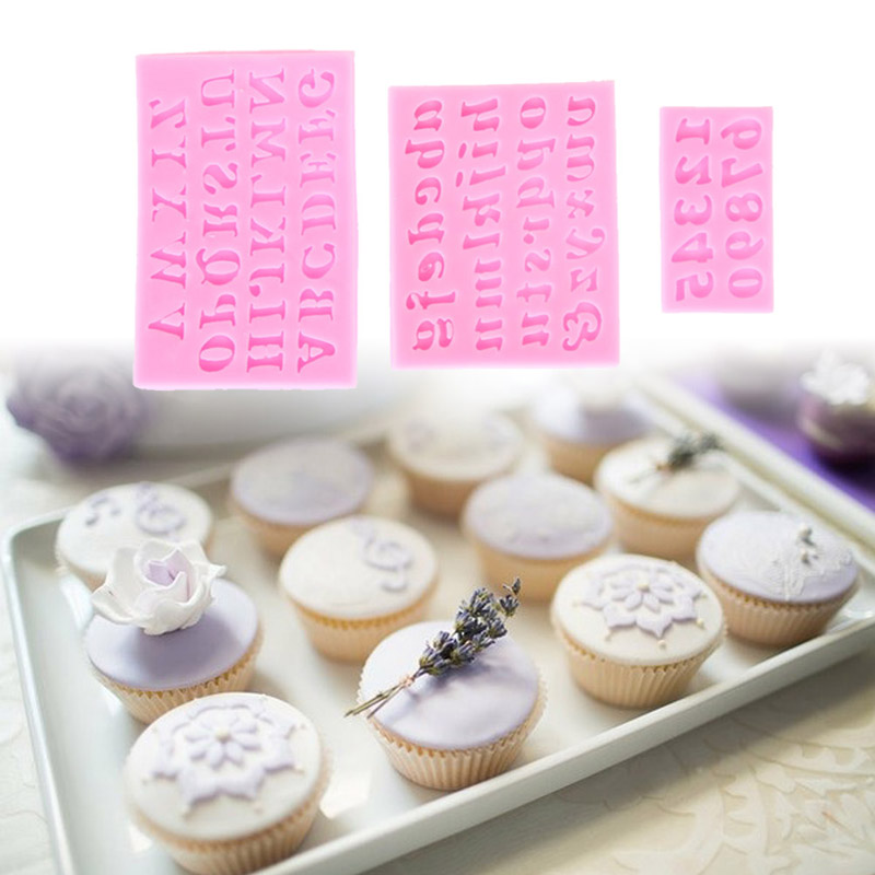 Cake Decorating Figures : 3Pcs Pink Silicone mould Alphabet Figures Chocolate Cake ...