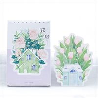 30Pcs Pack Greenhouse Blossoming Flowers Plants Postcard Greeting Card Envelope Gift Birthday Card Message Card