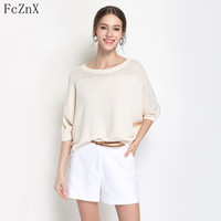 Hot 2018 Women's Clothing Jumper Sweater Knitted Pullovers Summer Loose Batwing Half Sleeve O Neck Solid Color Female Clothes