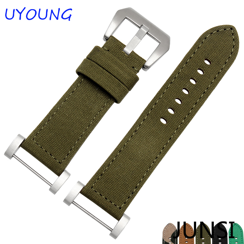 For Suunto CORE New Fashion Canvas and Leather Watchband Camouflage Strap +Suunto Connector+Steel Buckle For Suunto ESSENTIAL