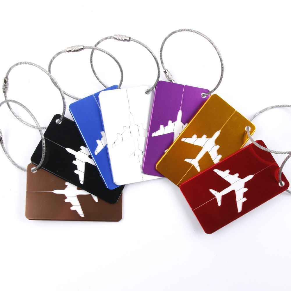 Hot Koop bagagelabel Vliegtuig Vierkante Vorm ID Koffer Identiteit Adres Naam Labels reizen accessoires Bagage Boord
