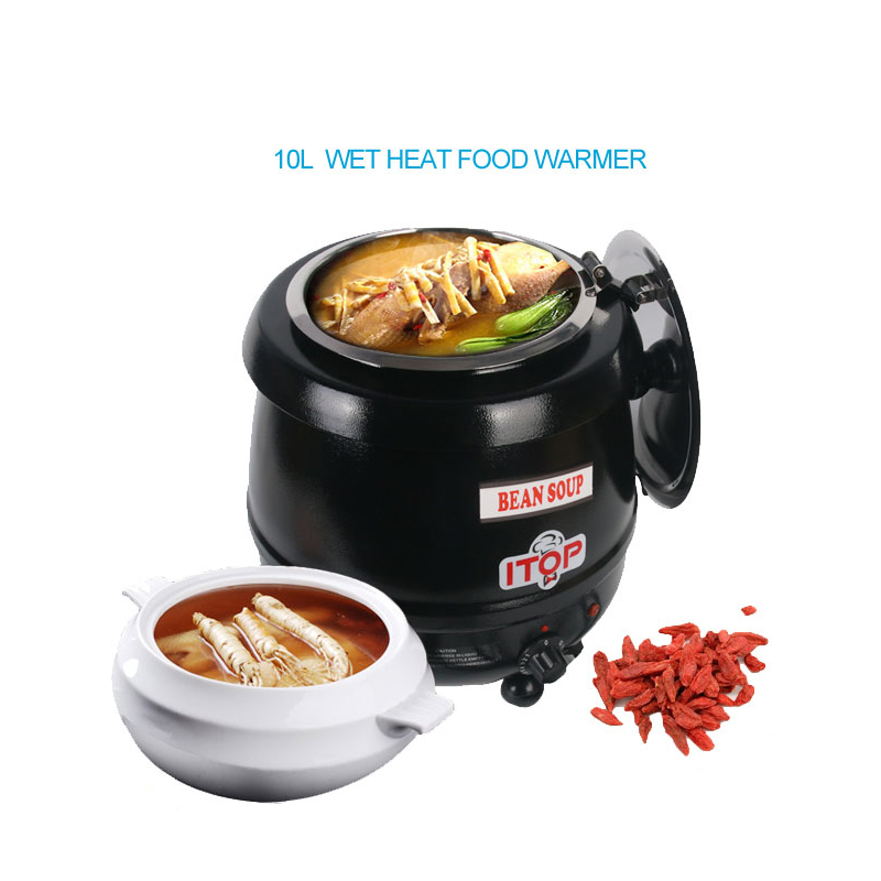 Brand New BS-W1C 10 Liter Electric Soup Kettle Warmer Hinged Lid Stainless Steel Pot Buffet Party