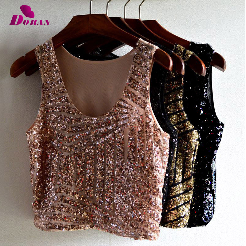 DORAN Crystal Mesh Top Womens Diamond Metal Crop Top 2018 Sexy Gold Plain Sparkly Sequin Draped Chain Backless Club Vest 4Colors