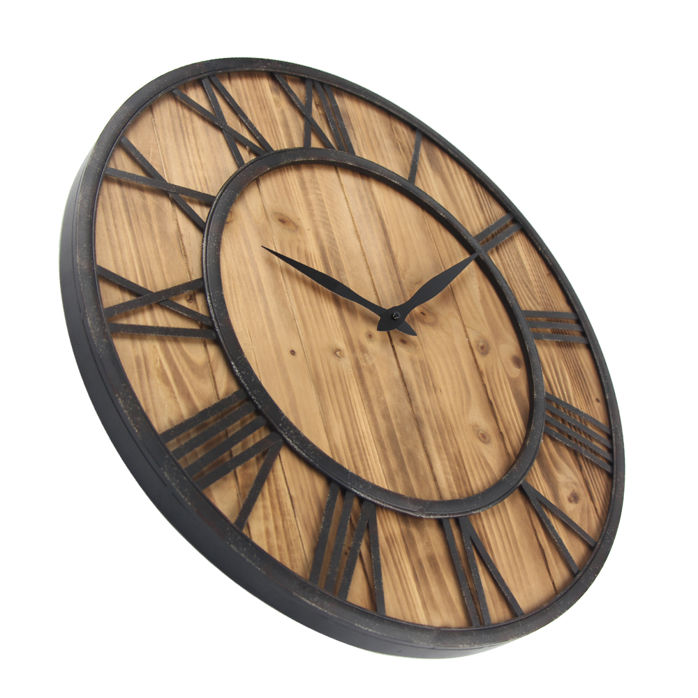 Wall Clock Design Us 121 7 29 Off 60cm Large Wall Clock Vintage Design Watch Wrought Metal Wooden Industrial Iron Retro Clock Saat Classic Horloge Murale In Wall