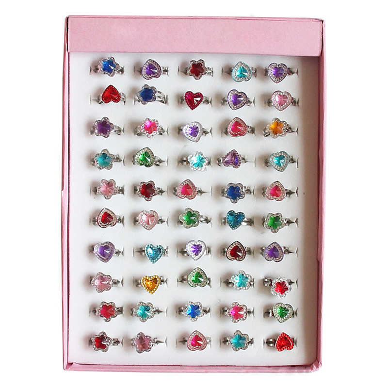 10Pcs/lot Children Toys Rings Dress Up Pretend Play Cute Jewelry Creative Princess Box Decor Toys Rings for Girls Finger Rings