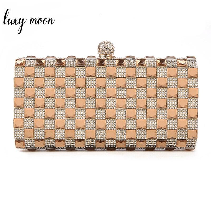 (sie Sicher Liebe) Luxus Glas Diamant Abend Taschen Bling Bling Klassische Strass Gold Kupplung Tasche Hochzeit Braut Geldbörse W47