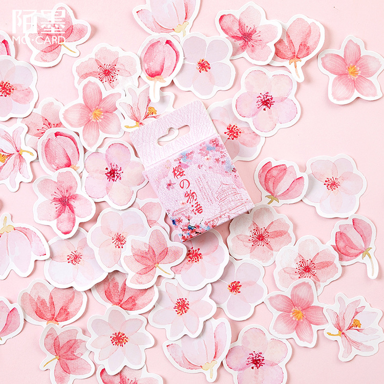 45 Pcs/pack Cherry Sakura Words Bullet Journal Decorative Stickers Adhesive Stickers DIY Decoration Diary Stationery Stickers