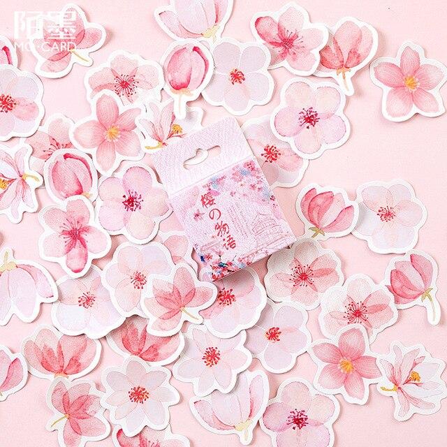 45 unids/pack Cerezo Sakura palabras bala diario pegatinas decorativas adhesivos DIY decoración diario pegatinas de papelería