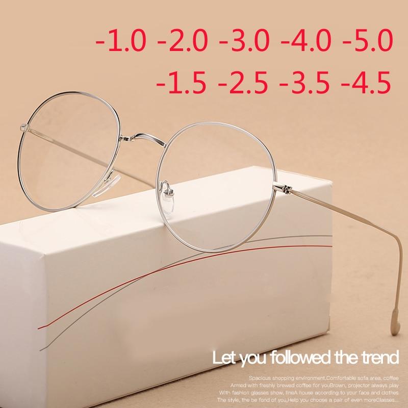 Stainless Steel Men Myopia Glasses Women Prescription Optical Decorative Glasses -1.0 -1.5 -2.0 -3.0 -4.0 -4.5 -5.0 -5.5 -6.0(China)