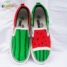 8  Styles Child Shoes Kids Watermelon Cartoon Graffiti Paternity Shoes Hand Painted Canvas Shoes for Boys Girls Cartoon Casual
