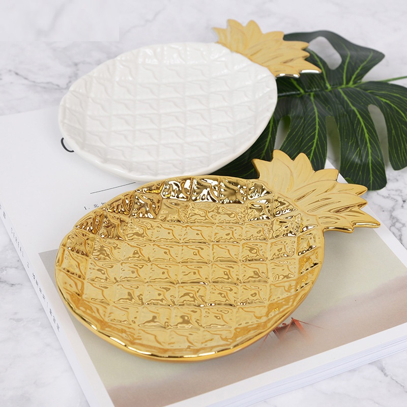 Rangnic Gold Pineapple Ceramic Storage Tray Golden Pineapple Jewelry Pallet Food Pallet Dry Fruit Plate Home Decoration PlateP35
