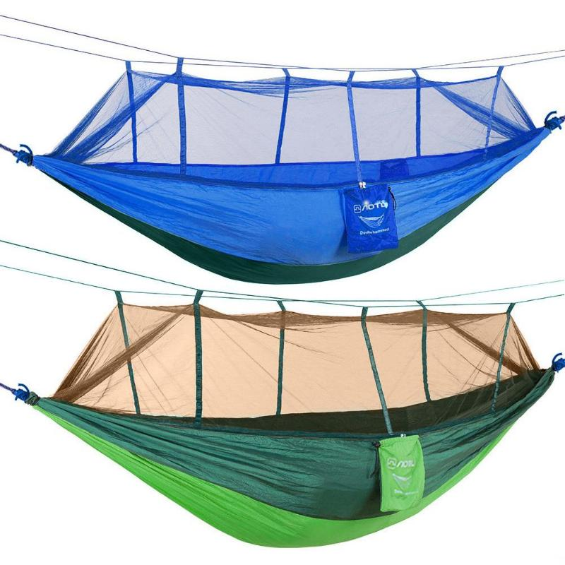 Camp Sleeping Gear Sleeping Bags Portable Travel Outdoor Camping Hammock Ultra Light Swing Sleeping Hanging Bed With Mosquito Mesh Cover Sleeping Bag Bright In Colour