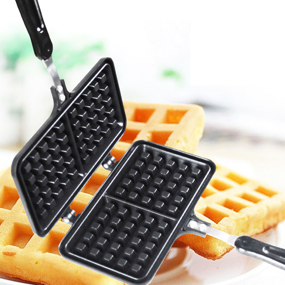 Breakfast Kitchen Supplies Die-Cast Aluminium Cake Non Stick Double Side Heating Stove Oven Iron Waffle Maker Puff Time Saving image