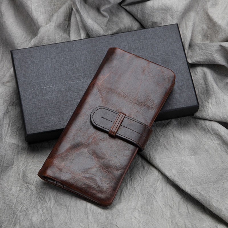 Buy Men Oil Wax Genuine Leather Wallet Pocket Coin Credit Card Holder Vintage Clutch Bag Famous Brand Bifold Long Purse for only 27.48 USD