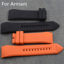 23mm Black Orange Silicone Rubber Watch Strap Watchband For ArmaniAR5346/5948 Without Buckle With Logo