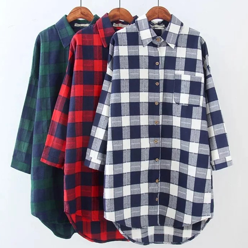 2017 autumn women plaid shirts blouses medium long casual for Flannel checked long sleeve shirt