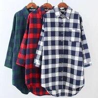 2017 Autumn Women Plaid Shirts Blouses Medium Long Casual Loose Vintage Flannel Shirt Long Sleeve Women Blouses Tops Plus Size
