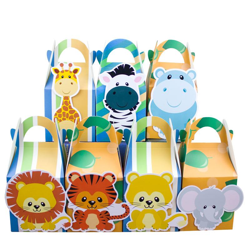 Safari Djur Favoritlådan Candy Box Presentkorg Presentväskor Cupcake Box Wrapping Boy Kids Födelsedagsdekoration Event Party Supplies