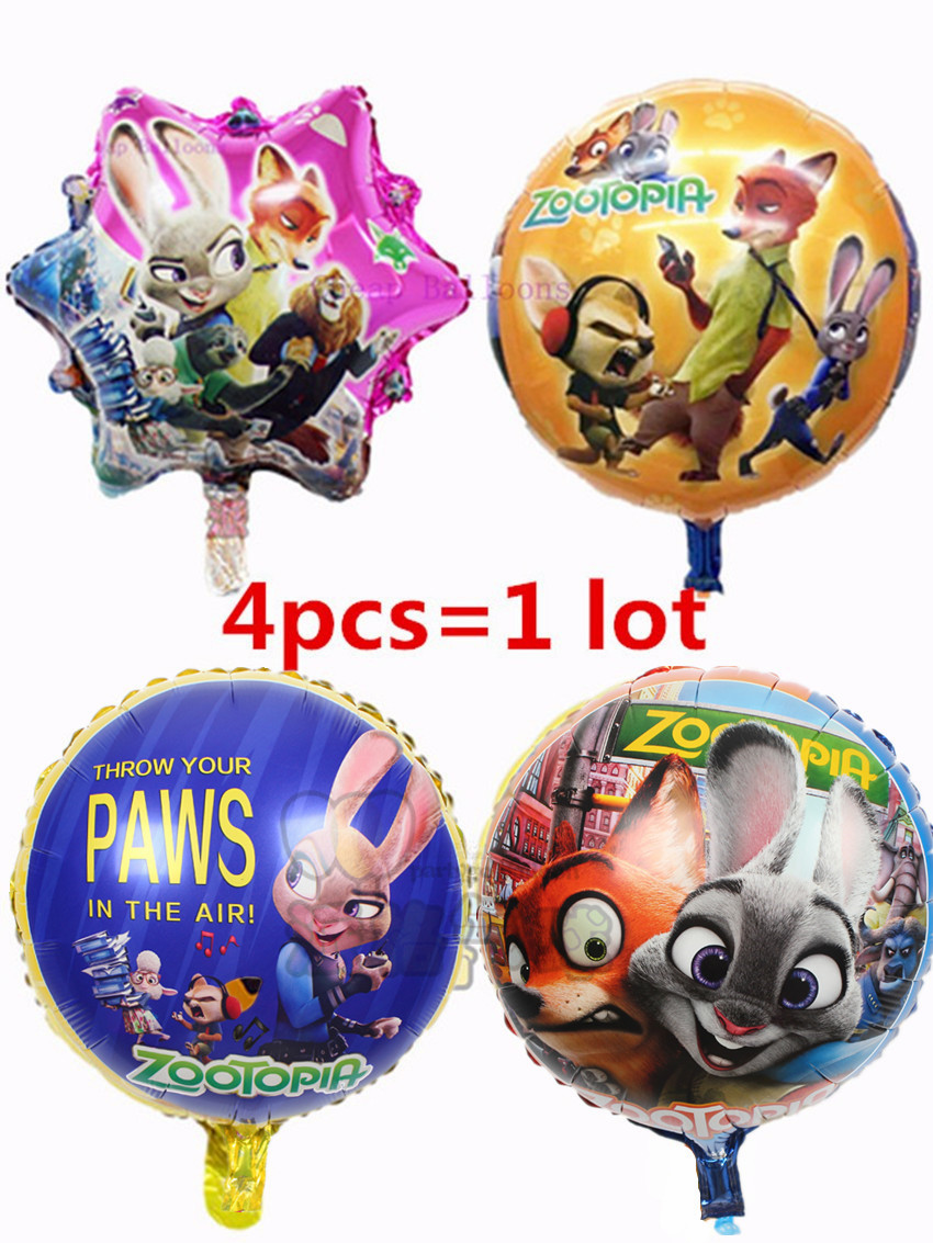 New Style 4pcs Lot Zootopia Balloon Fox Foil Balloons Kids Birthday Party Decoration Supplies Helium PAWS