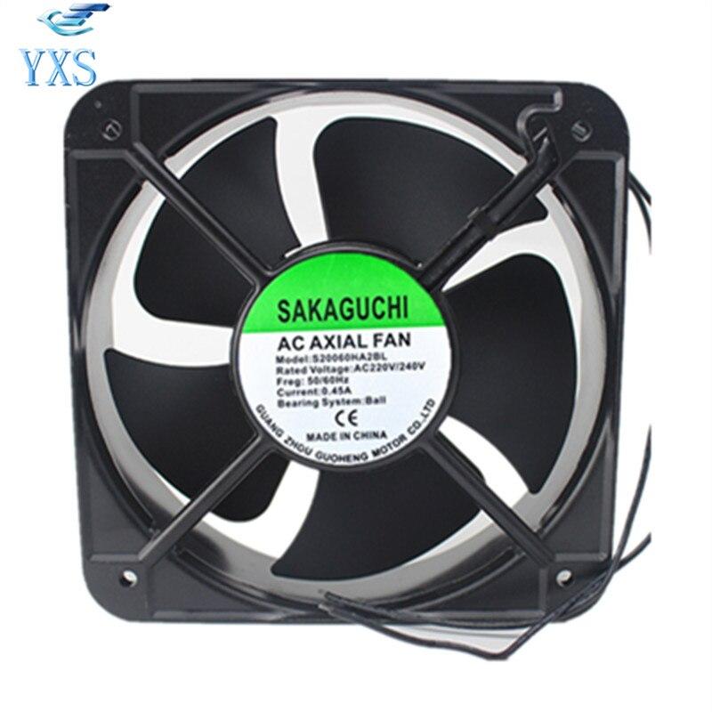 S20060HA2BL AC 220V 240V 50/60HZ 0.45A Ball Bearing 65W 20060 200*200*60mm 20cm Axial Cooling Fan