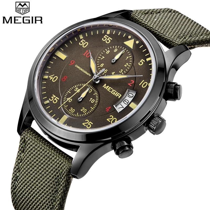 Prix pour Megir Hommes Montres Top Marque De Luxe Chronographe 6 Mains Mens Designer Montres Homme Horloge Montre-Bracelet Megir Montre Relogio Masculino