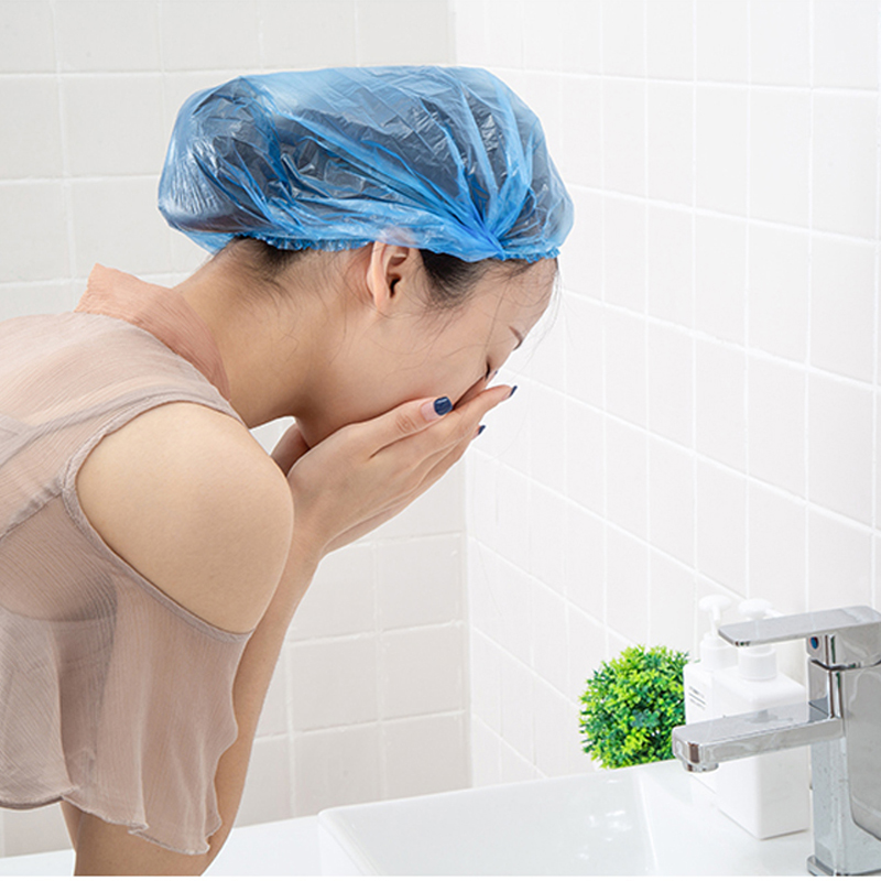 050 Disposable shower waterproof headgear cap adult female kitchen cap oil cap shower household bath hair cap in Shower Caps from Home Garden