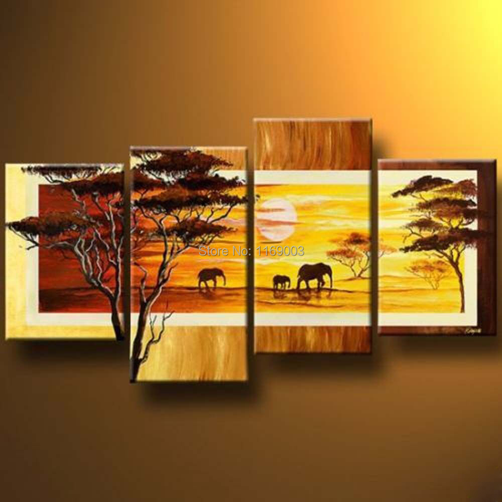 4 piece modern canvas wall abstract decorative orange tree African ...