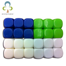 10pcs 6-sided 16mm white ROUND corners blank dice can be written by pen for board game GYH(China)