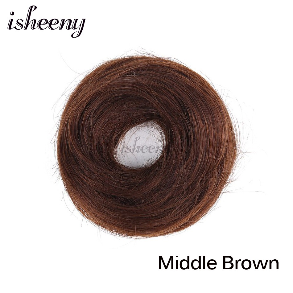 Isheeny European Human Hair Remy Rubber Band Chignon 17g Black Brown Natural Dount Chignon 4 Colors Human Hair Pure Color - Цвет: #6
