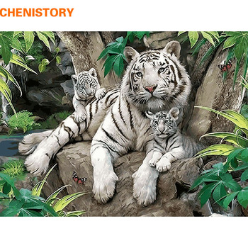 CHENISTORY Animal Picture On Wall Acrylic Paint By Numbers Diy Painting By Numbers Children Gift Coloring By Numbers Tiger фото