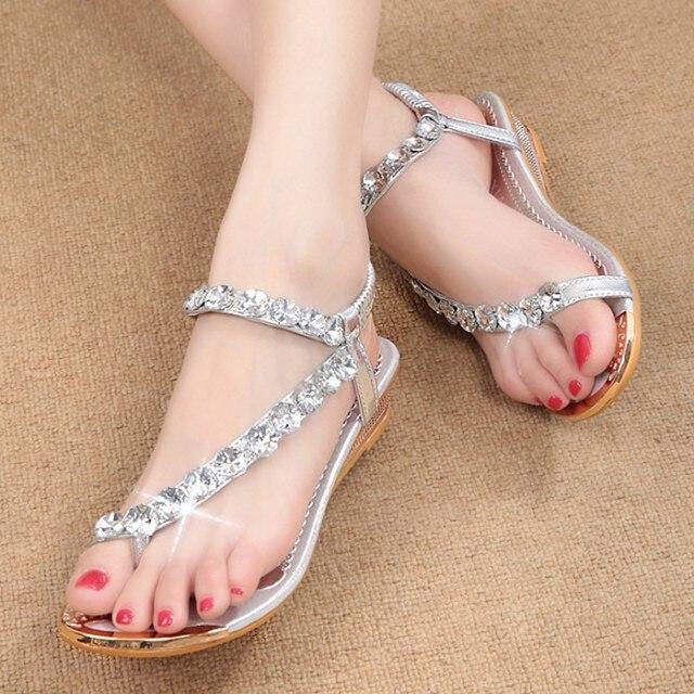 Лето женщины сандалии гладиатор женская обувь Богемии плоские туфли sandalias mujer женская обувь высокого качества Горный Хрусталь сандалии