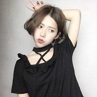 Harajuku Girls Punk T Shirt White Black Rock Short Sleeves Halter Neck Summer T Shirt Tee
