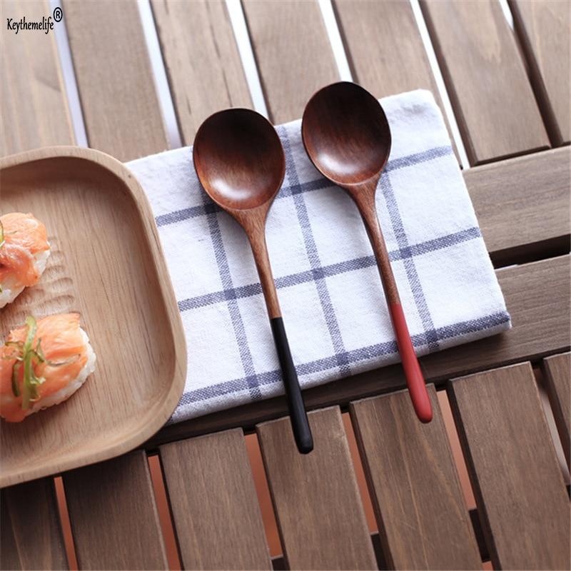 Keythemelife 1PCS Japansk stil Träsked röd svart handtag - Kök, matsal och bar
