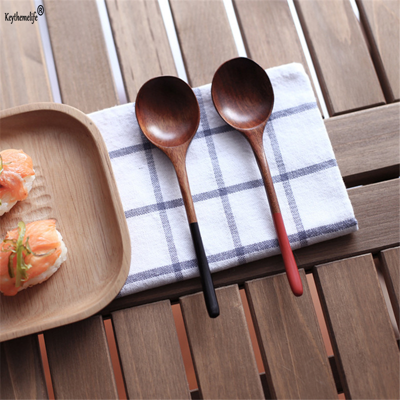 Keythemelife 1 STKS Japanse Stijl Houten Lepel Rood Zwart Handvat - Keuken, eetkamer en bar