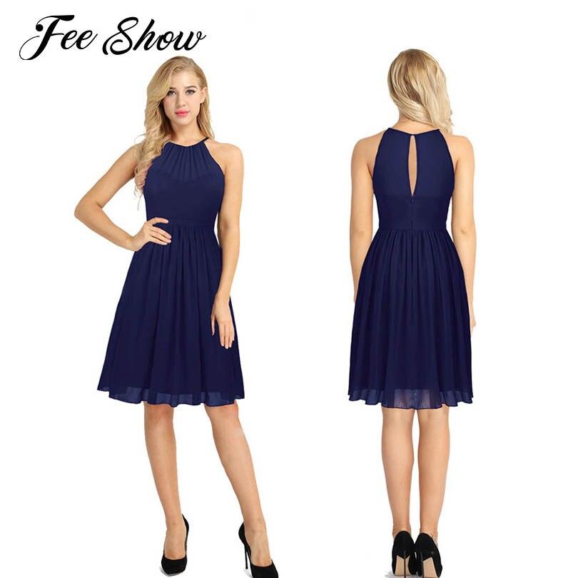 Cheap Bridesmaid Summer Dress Fashion Halter A Line Dress