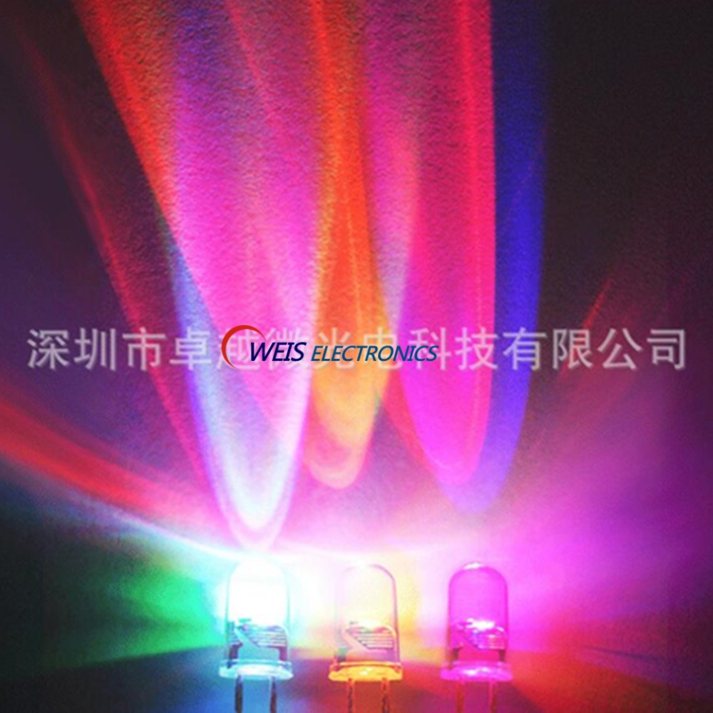 100PCS 5MM F5 RGB SLOW FLASH LED  Change Color In 4 Seconds , Self-flashing , DIP-2 , Long Legs/ Short Legs , Water Clear Lamps