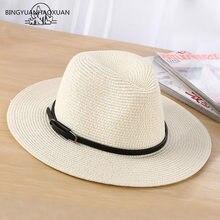 BINGYUANHAOXUAN marca 2018 señoras sombrero de sol moda Casual mujeres paja playa  sombrero sombreros al por 4b8025766c2