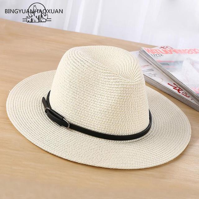 e6c1c48bd46 BINGYUANHAOXUAN Brand 2018 Ladies Sun Hat Fashion Casual Women Straw Summer  Beach Hat Wholesale Hats Stylish Cap