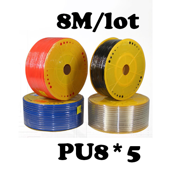 PU8*5  8M/lot Free shipping PU Pipe 8*5mm for air & water  Pneumatic parts pneumatic hose ID 5mm OD 8mm pu tube 8 5mm air pipe pneumatic parts pneumatic hose id 5mm od 8mm