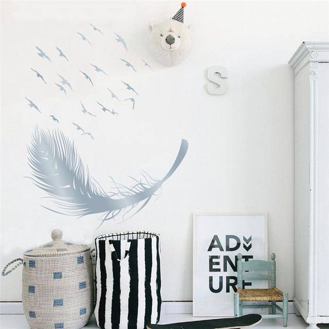 flying feather wall stickers home decor adesivo de parede home decoration wallpaper wall sticker bedroom wall decoration