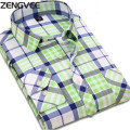 Men Casual Shirts Slim Fit Dress Long Sleeve Fashion Brand Grid stripe style Man Shirts