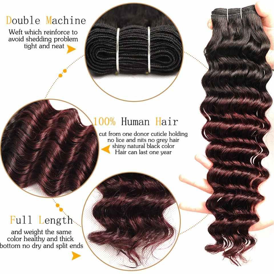 Pinshair Gelombang Dalam Rambut Malaysia 3 Bundel dengan Penutupan Ombre 1B Merah Marun Rambut Manusia Menenun dengan Penutup Non remy
