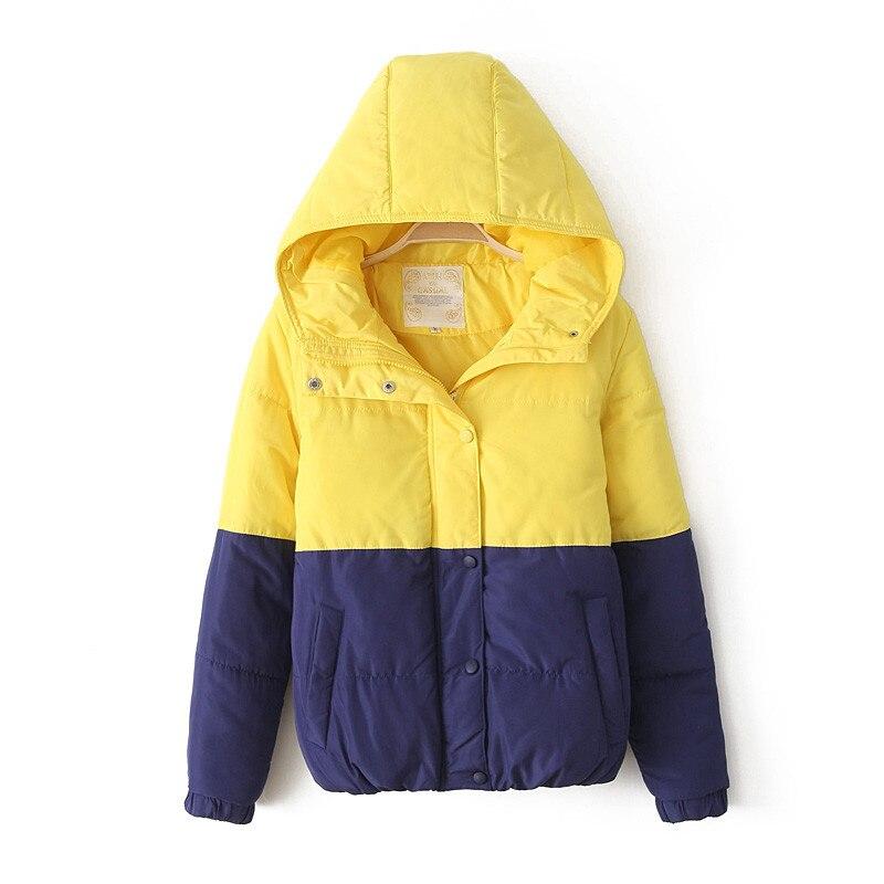 Куртка хлопок капюшон, зима корейский конфеты цвет толстый тёплый женская контрастность цвет шитьё мягкий пальто H2033