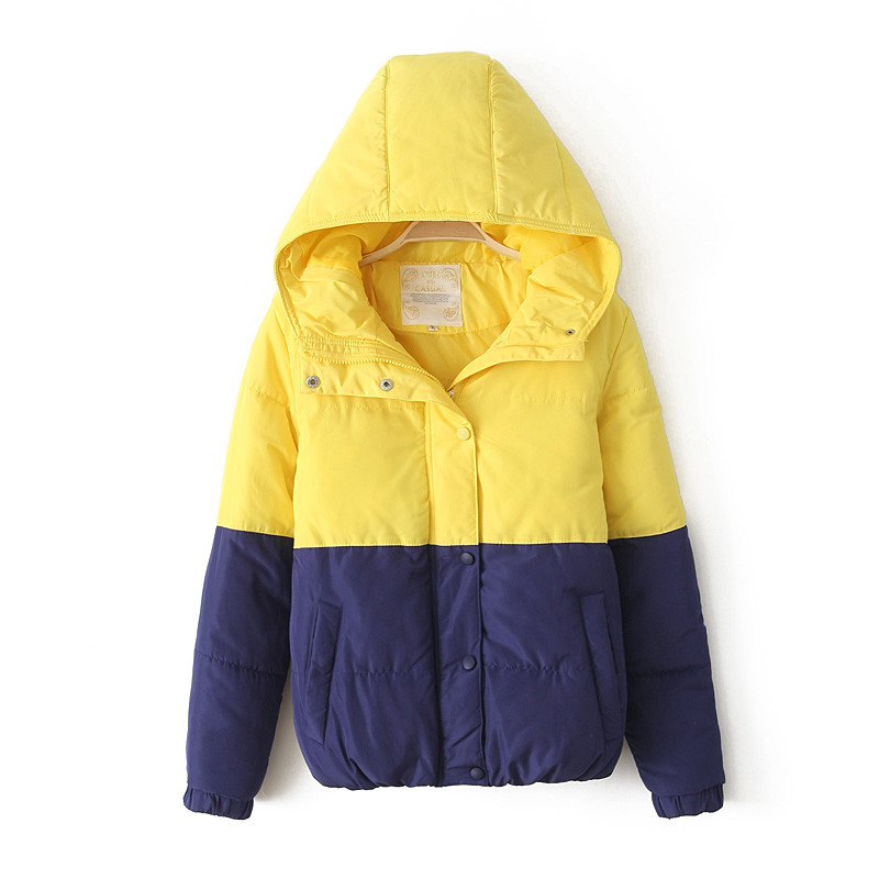 2013 Winter New Korean Candy Color Thick Warm Hooded Jacket WomenS Contrast Color Stitching Cotton Padded Coat H2033