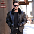 2016 USAF A2 Leather Pilot Jacket Brown Wool Collar Thick Genuine Cowskin Slim Fit Plus Size XXXXL Men Winter Coat FREE SHIPPING