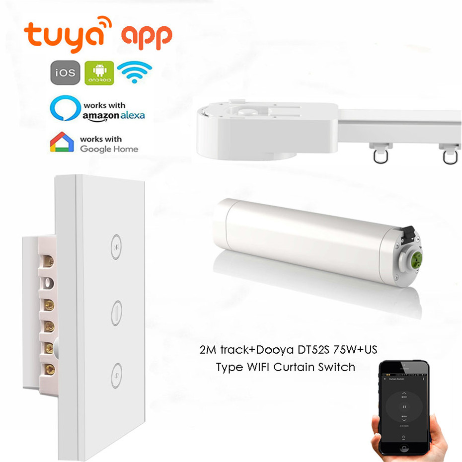 Tuya App Automatic Curtain Track,Touch/wifi Control,DT52S 75W Motor+2M Or Less Track+US Wifi Curtain Switch,Google Home/Alexa
